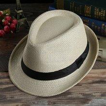 e759de94778 Unisex Hat Men Women Fedora Trilby Wide Brim Straw Cap Summer Beach Sun  Panama ...