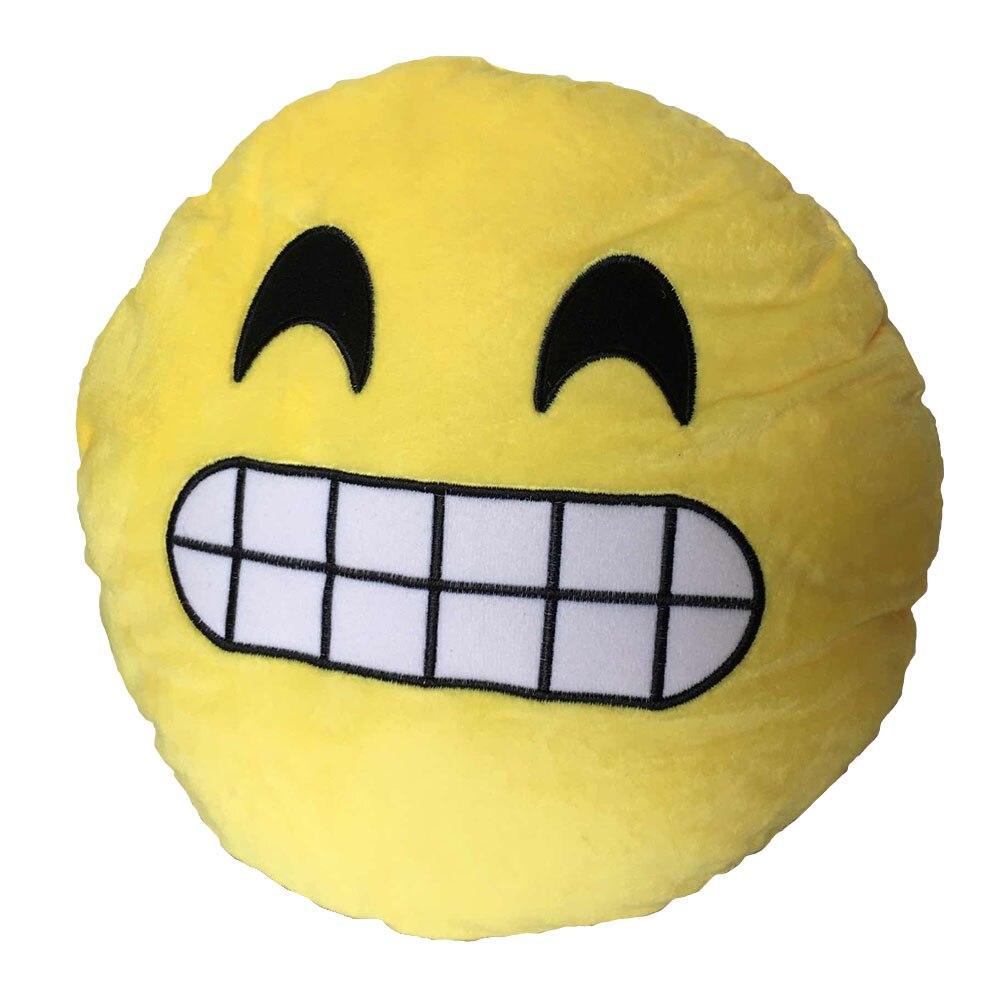 Doux Emoji émoticônes Smiley Jaune Ronde Coussin Oreiller En