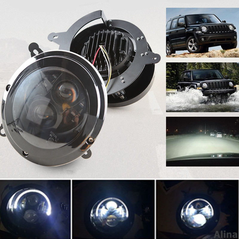 Set of Headlight For SUV Jeep Patriot 2011 2012 2013 2014 2015 LED DRL Projector Assembly