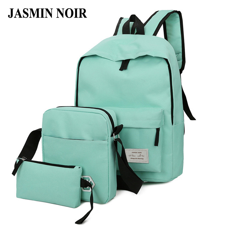 2017 Fashion Design Women Solid Backpack Girl high quality Canvas Zipper School Bag Lady Soft back Three Pieces Set For Travel 4 pieces set of summer women canvas backpack girl student lace book bag with high quality backpack child juvenile bag