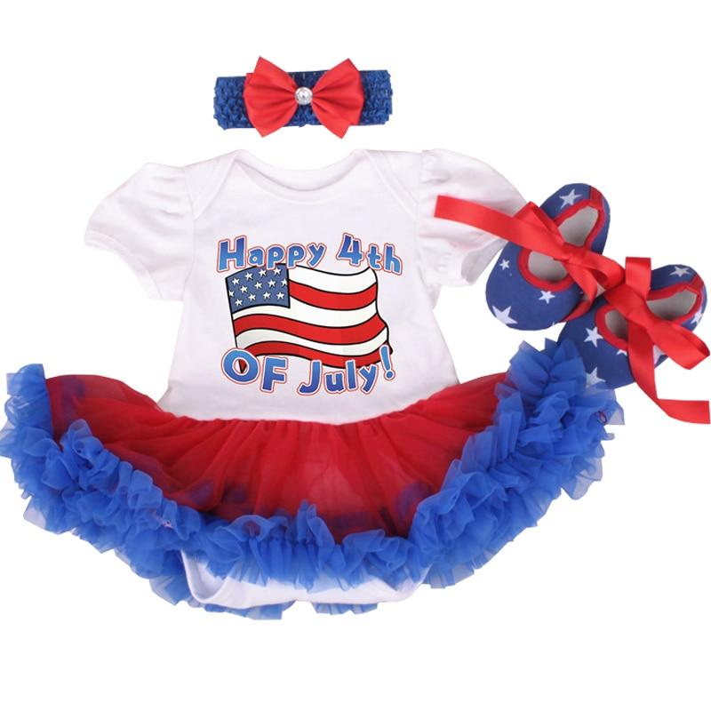 America Patriotic 4th of July Baby Clothes Girl Romper Dress Infant Girls Clothes Sets Newborn Cotton Jumpsuit roupas de bebe