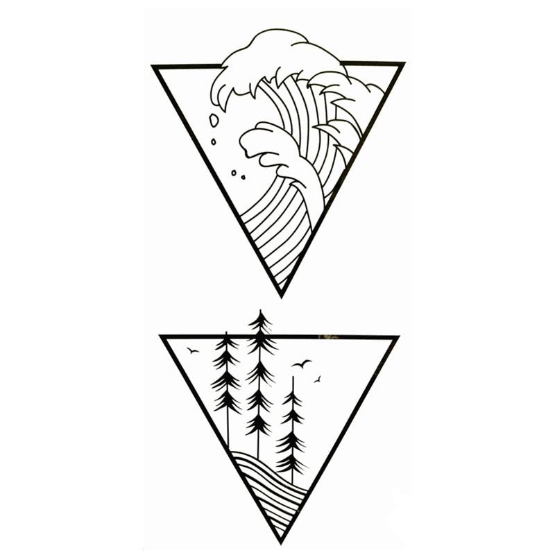 Waterproof Temporary Fake Tattoo Stickers Cool Ocean Wave