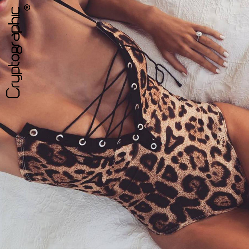 Cryptographic Deep v lace up leopard bodysuit women body fitness sexy jumpsuits 2017 sleeveless catsuit leotard ladies overalls