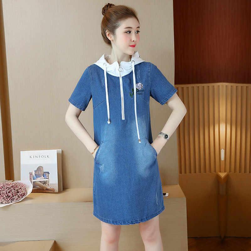Новые летние стильные женские платья, повседневные платья размера плюс, узкая вышивка, одноцветное джинсовое платье с капюшоном для женщин, большое джинсовое цельное платье