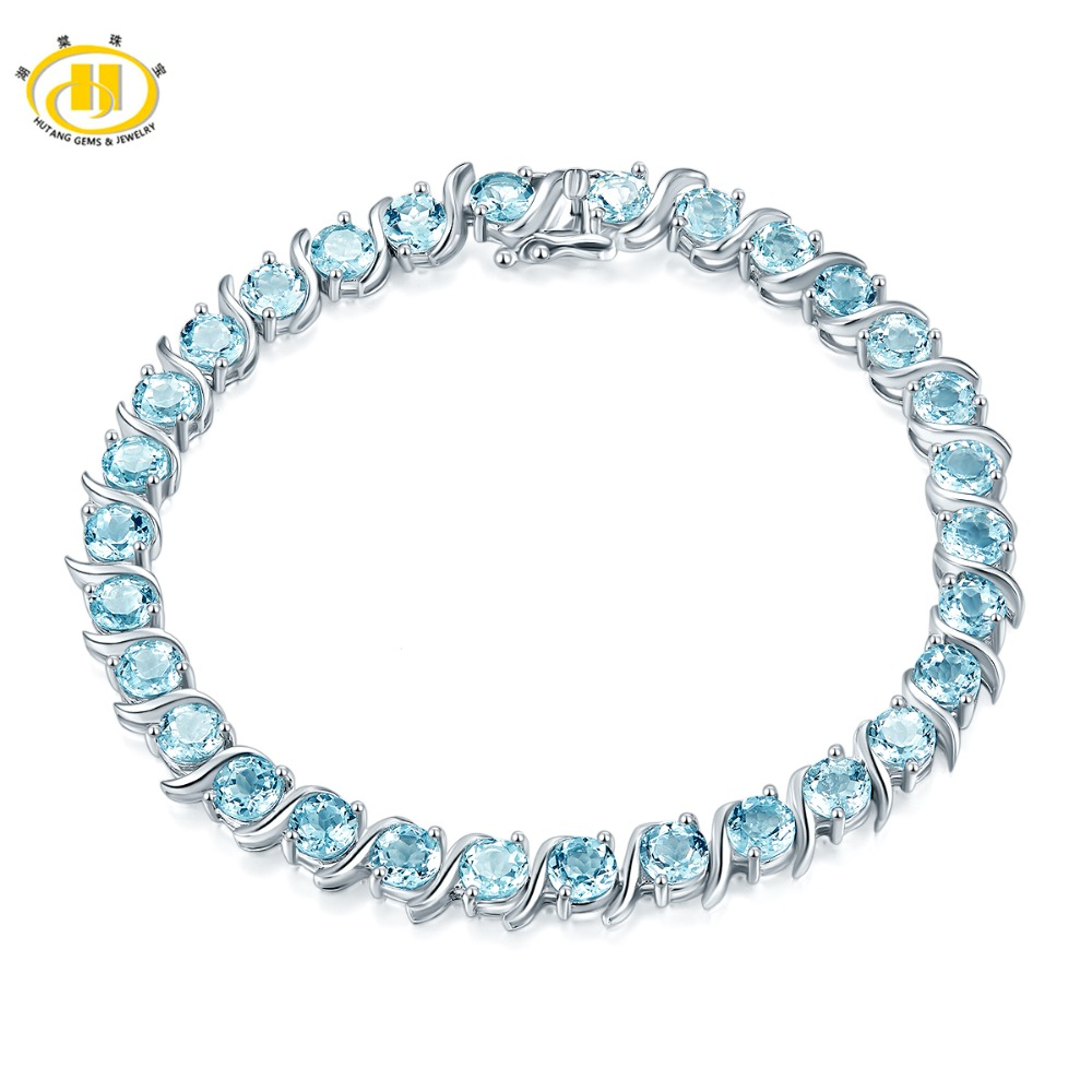 Hutang Sky Blue Topaz Bracelet Natural Gemstone Solid 925 Sterling Silver 8 Inches Fine Fashion Stone