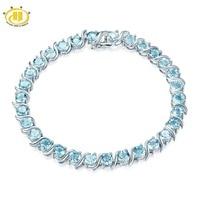 Hutang голубой топаз браслет натуральный камень Твердые стерлингового серебра 925 8 дюйм(ов) тонкой моды камень летние украшения для Для женщин