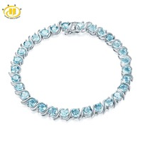 Hutang Sky Blue Topaz Bracelet Natural Gemstone Solid 925 Sterling Silver 8 Inches Fine Fashion Stone Summer Jewelry For Women