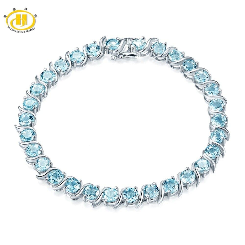 Hutang bleu ciel topaze Bracelet pierre naturelle solide 925 Sterling argent 8 pouces Fine mode pierre été bijoux pour les femmes