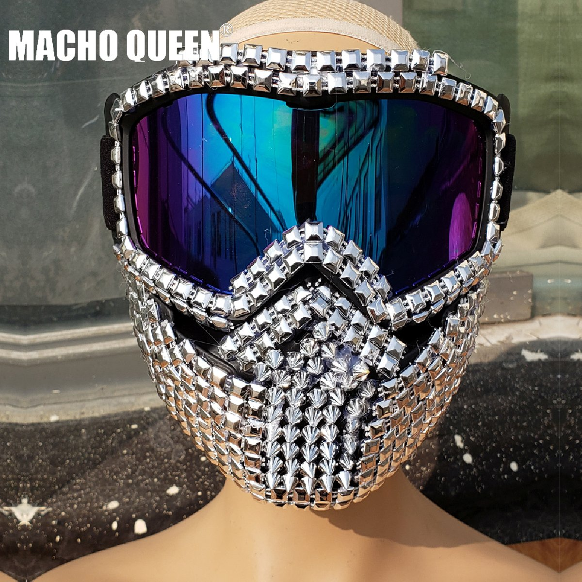 Holographic Iridescent Streampunk Burning Man Accessies Studded Mask Helmet Costume Fashion Stage Show Summer Festival Rave Gear