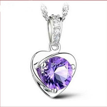 TJP Trendy 925 Silver Women Choker Necklace Accessories Fashion Girl Crystal Purple Heart Charm Female Pendant Jewelry