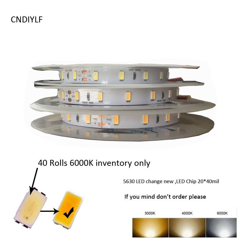 High CRI>80 5m 300LED 15W/m  24V LED Strip 5630  Warm White  Samsung SMD 5630 LED 50lm/LED Shipping Via Aliexpress Air Mail
