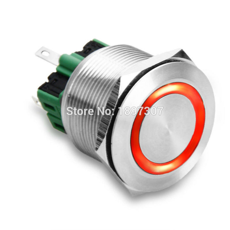 Image 2 - 200 pieces 25mm Red Ring LED Metal  Push Button electric Switch Waterproof 6V, 12V, 24V, 110V, 220V weld with 100cm cablesSwitches   -