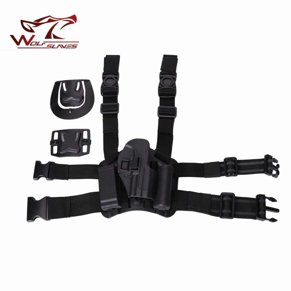 CQC USP Tactical Gun Holster Magazine SET MOLLE Drog Leg Holster Magazine and Flashlight Pouch Right Handed Airsoft Pistol Case