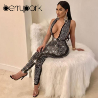 BerryPark 2019 Luxury Rhinestone Women Deep V Neck Jumpsuit Crystal Diamond Romper Sleeveless Backless Sexy Nightclub Costumes