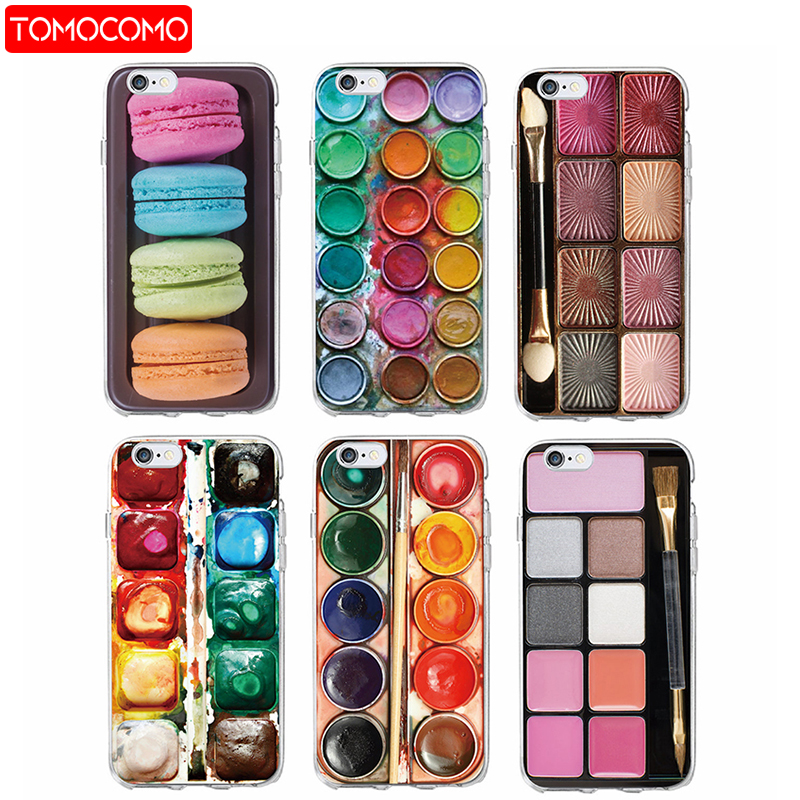 Colorful Watercolors Set Paint Palette Macaroon <font><b>Makeup</b></font> Soft Phone <font><b>Case</b></font> For <font><b>iPhone</b></font> 11 Pro P6 6Plus 7 7Plus 5 8 8Plus X XS Max image