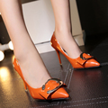 NEW Shallow Women Pumps Pointed Toe Patent Leather Big Buckle High Heels Color Orange Beige Pink