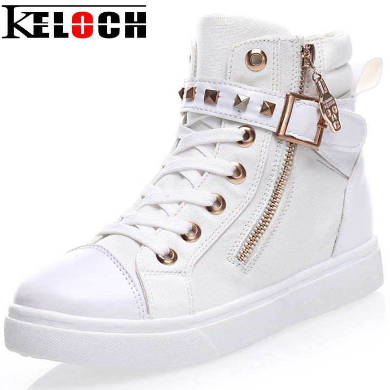 Keloch Europe Style High-Top Flat Women Fashion Canvas Shoes Zipper Casual Women Shoes Ladies White Espadrilles Zapatillas Mujer e lov new arrival luminous canvas shoes graffiti pisces horoscope couples casual shoes espadrilles women