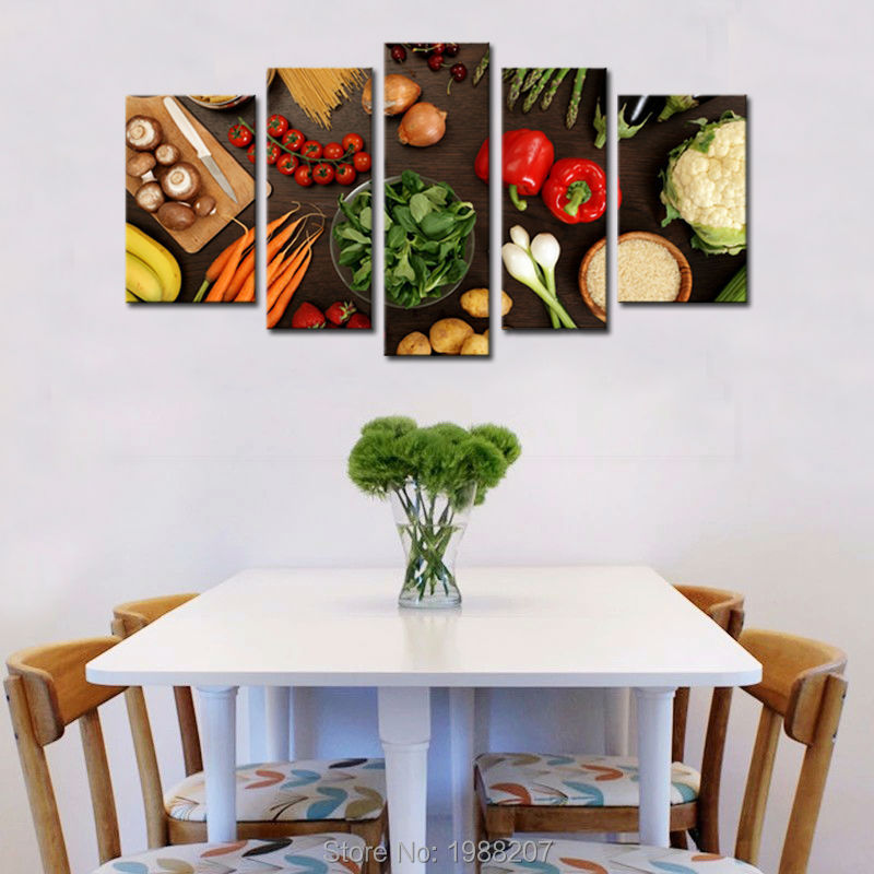 5 Pieces Vegetable Paintings Wall Art Fresh Vegetables Fruit Healthy Foods Picture Print On Canvas For Restaurant Kitchen Decor
