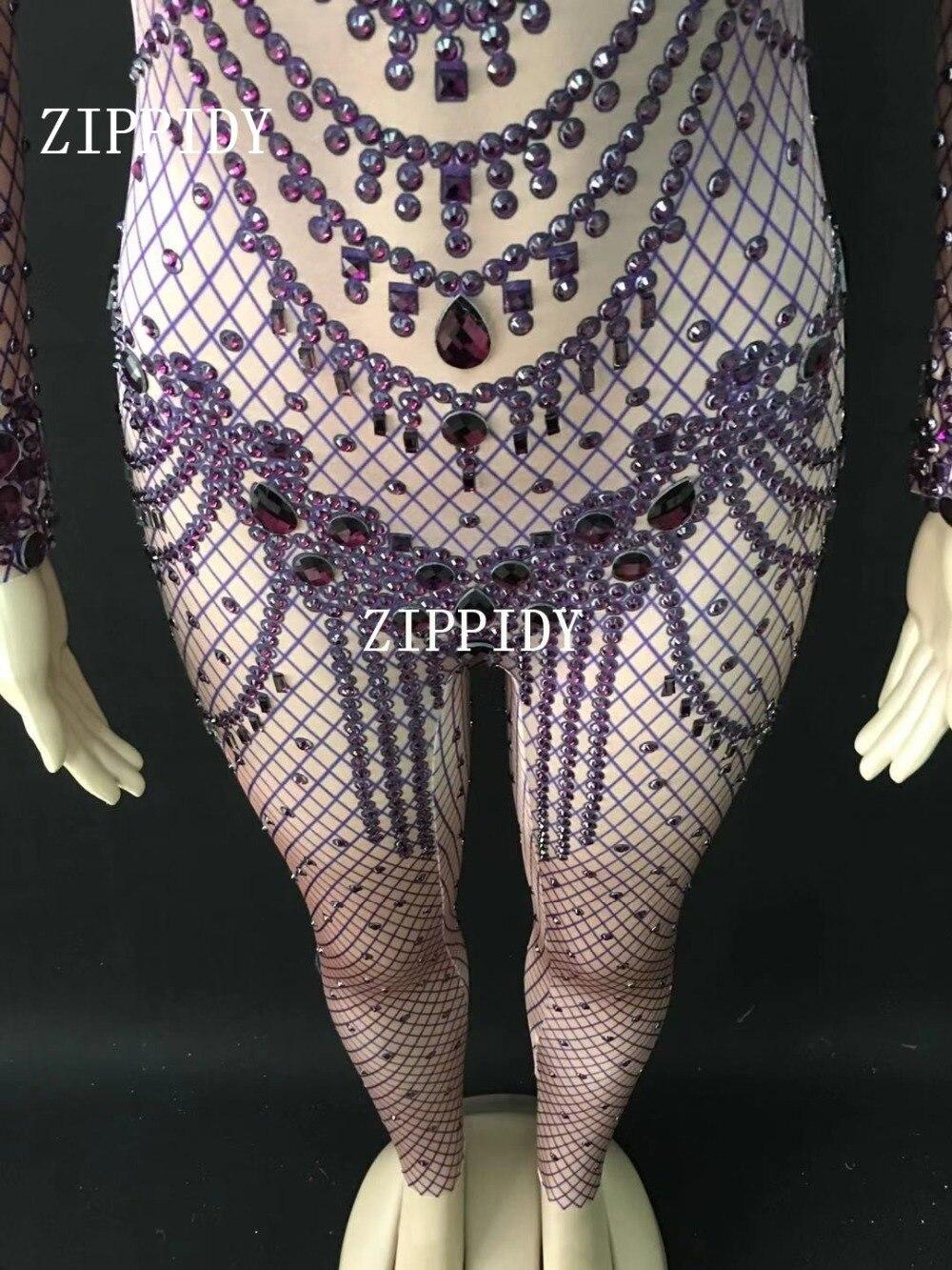 Bling Chanteuse De Barboteuses Purple Discothèque Grand D'anniversaire Scène Spectacle Spandex Wear Violet Salopette Body Femmes Danse Strass dxUwdTSq