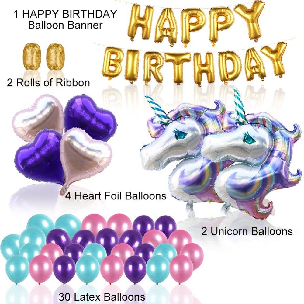 Aytai 37pcs Wedding Foil Unicorn Balloons Unicorn Themed Party ...