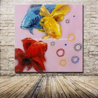 Hand Painted Cartoon Oil Painting On Canvas Modern Abstract Animal Wall Art For Home Decoration Red