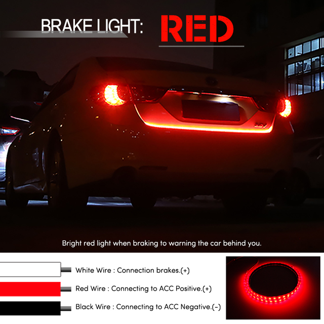 OKEEN Amber Turn Signal Flow led trunk Strip light Tailgate luggage 12V Car Rear Lamp Dynamic Streamer Floating RGB led strip