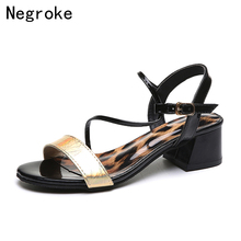 Women Sandals Ankle Strap Summer Shoes Woman High Heels Sandals Sexy Leopard Chaussures Femme 2019 Zapatos Mujer все цены