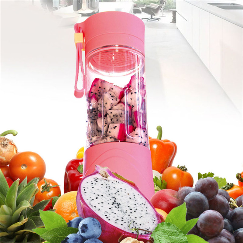 Mini Pink Portable Rechargeable USB Electric Fruit Juicer Smoothie Maker Blender