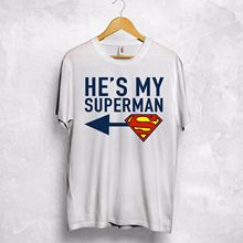 eee1f47a48 He's My Superman Shes My Wonder Woman T-Shirt Couple Valentines Gift Wifey  Hubby Short