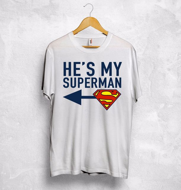 3c2efd3676 He's My Superman Shes My Wonder Woman T-Shirt Couple Valentines Gift Wifey  Hubby Short Sleeve T shirt Fashion