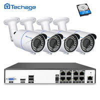 Techage H 265 8 Channel Security POE NVR CCTV System Kit 4 0MP Outdoor 2 8