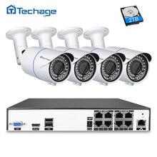 Techage H.265 8CH 4MP POE NVR CCTV Системы 2,8 мм-12 мм зум-объектив с переменным фокусным расстоянием IP Камера видео безопасности 4MP POE наблюдения Системы