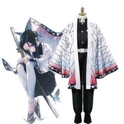 Anime demonio asesino Kimetsu no Yaiba Kochou Shinobu Cosplay traje de las mujeres uniformes tipo kimono Carnaval y Halloween traje de fiesta peluca