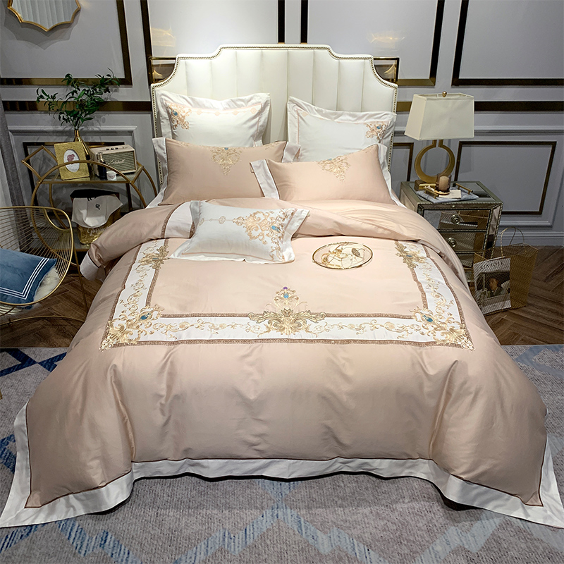 Premium Embroidery Europe Style Bedding Luxury 4Pieces Queen King Size High Thread Count Egyptian Cotton Bedding Set Bed Sheet