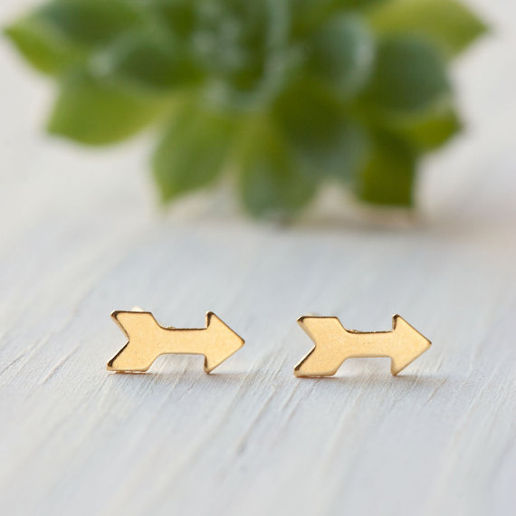 Silver Tiny Arrow Stud Earrings