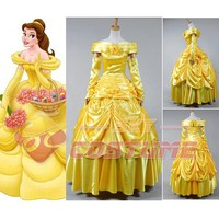 Beauty and the Beast Adult Belle Evening Gown Yellow Dress Gloves Halloween Party Cosplay Costume For Women Full Set