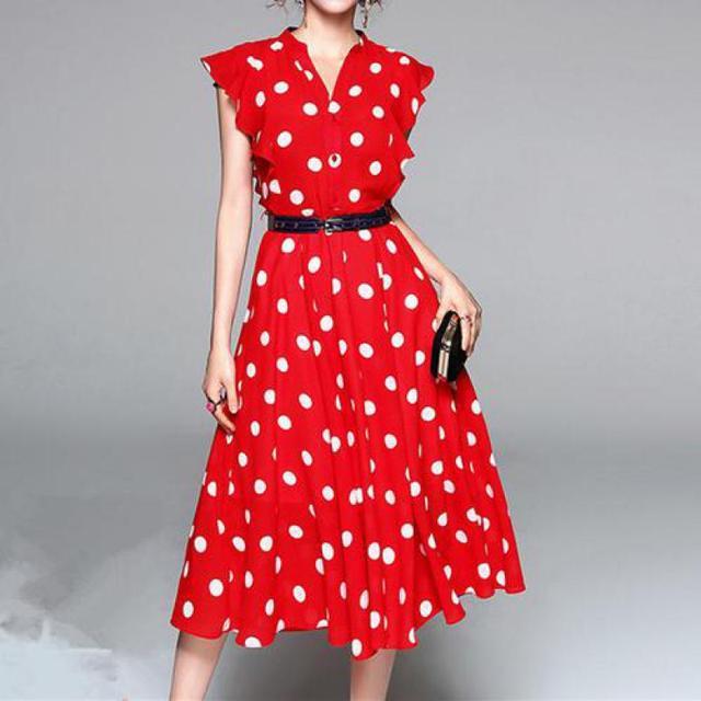Summer Vintage Chiffon Dresses 2019 New Women Slim A-line Sleeveless Sexy V-neck Dot Dress Woman Casual Wear Bodycon Dress