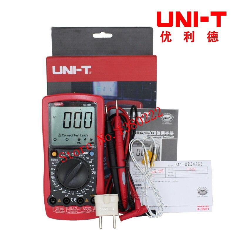 UNI-T UT58B Ammeter Multitester DMM Digital Multimeters DC/AC Voltage Current Resistance Capacitance Tester Data uni t ut30c original authentic data handed hold digital multimeters temperature test