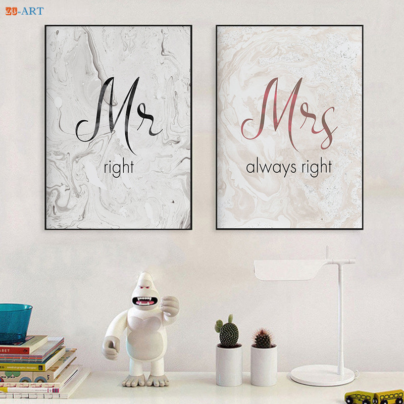 Romantic Bedroom Wall Decor: Romantic Mr Mrs Prints Poster Quotes Canvas Painting