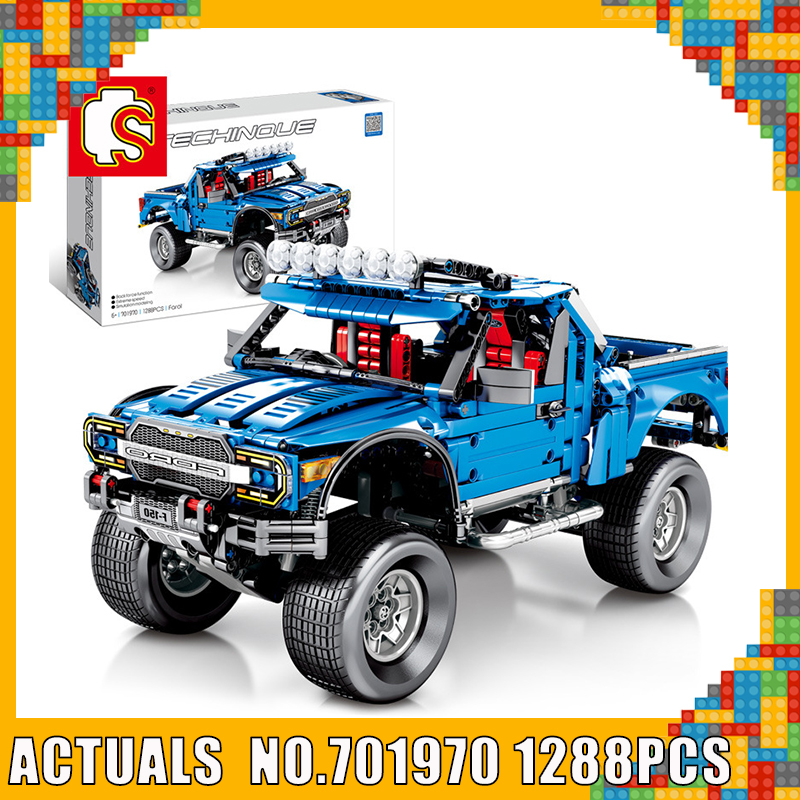 Sembo Technic le F-150 Raptor pick-up modèle blocs de construction briques Legoing 701970 tout-terrain Ford Trucks jouets éducatifs de travaux manuels cadeau