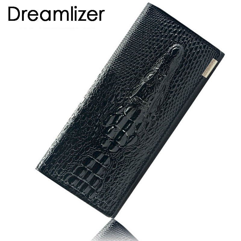 Black Friday Fashion Genuine Leather Women Clutch Wallet 3 Fold Crocodile Head Womans Purse Carteras Cellphone Bag