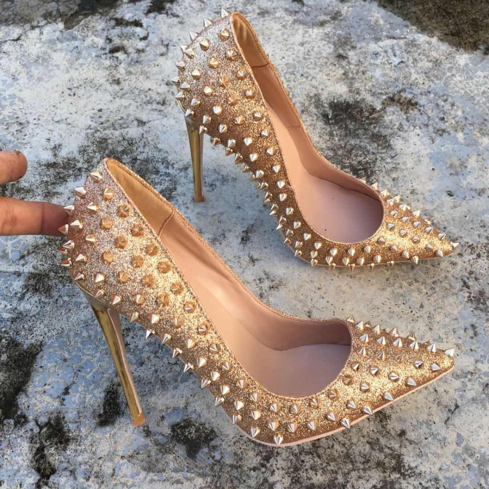 KeshangjiaGlitter Spikes Rivets Studded Silver Gold High Heels shoes woman 2018 large size 34 45 stiletto