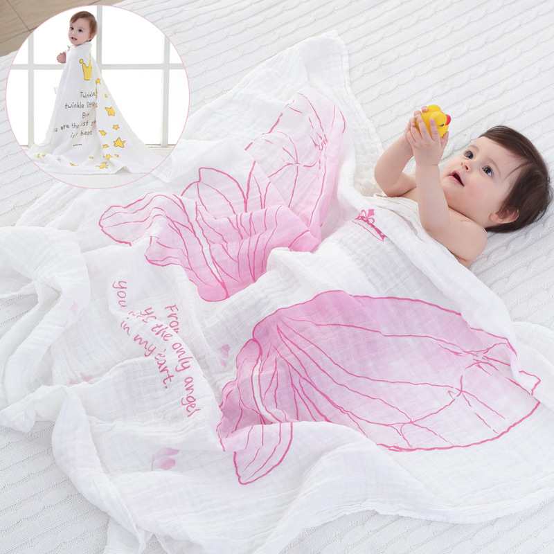 ruyi bebe Dual-layer Muslin Cotton Gauze Scarf Baby Towels Newborn Baby Swaddling Towel Breathable Blanket for Baby