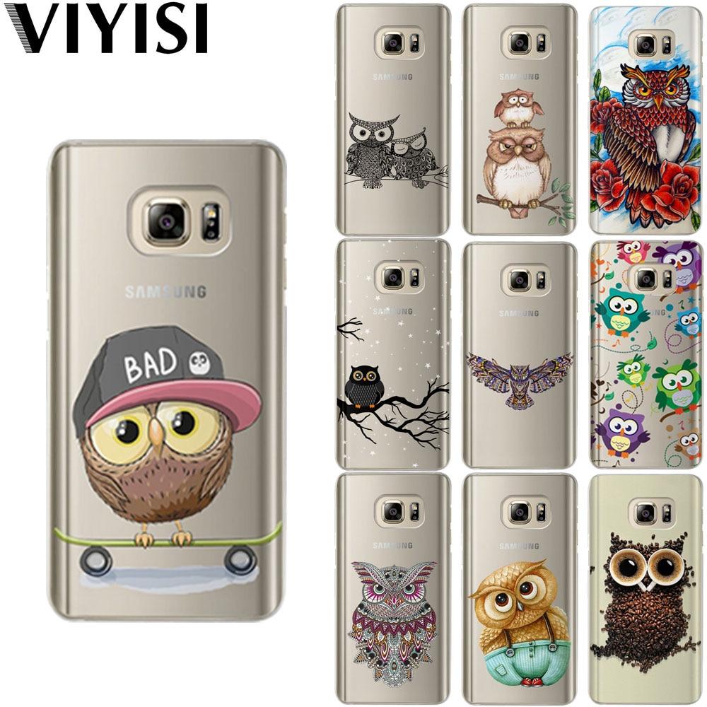 VIYISI For Samsung Galaxy J3 J5 J7 A5 A3 2017 2016 2015 Prime S6 S7 Edge S8 S9 Plus Owl Animal Phone Case Coque Cover Fundas