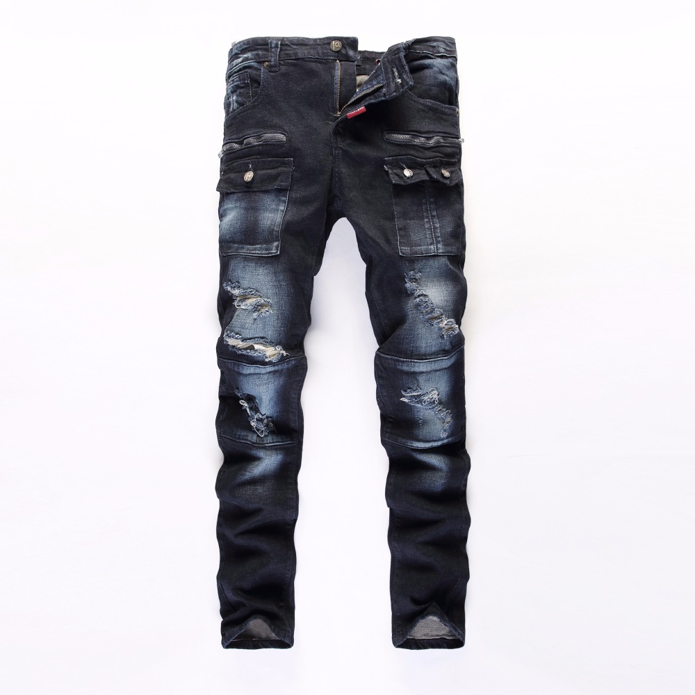 Four seasons can wear casual pants Men New Design cotton mens straight jeansTide Hole  Jeans Men's fashion Denim Jean Biker Man