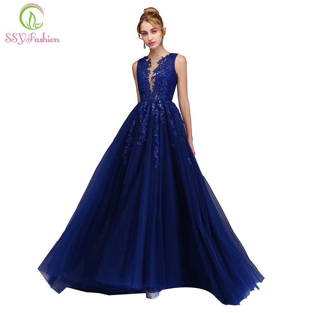 SSYFashion 2018 New Luxury Prom Dress The Bride Banquet Elegant Blue ... 5f9599d9d866