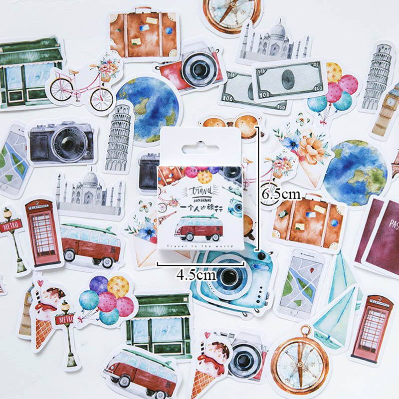 45pcs/box A Person's Travel Stickers Vintage Buildings Adhesive Label Stickers Decorations For Scrapbooking Diary Diy Albums