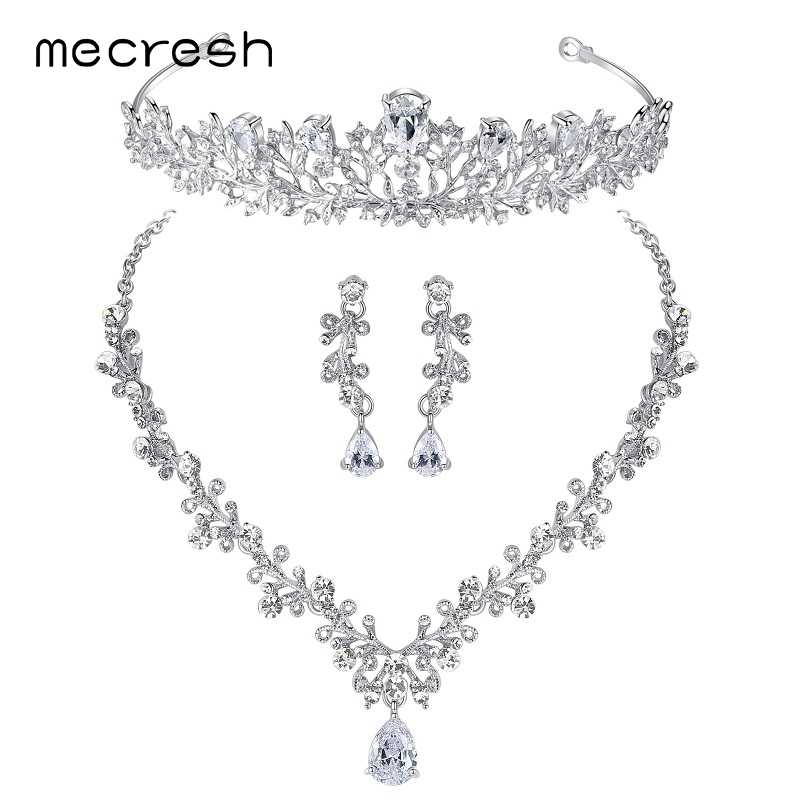 Mecresh Luxury Cubic Zirconia Jewelry Sets Leaf-Shape Crystal Wedding Bridal Necklace Earrings Tiara Sets Christmas TL486+HG126