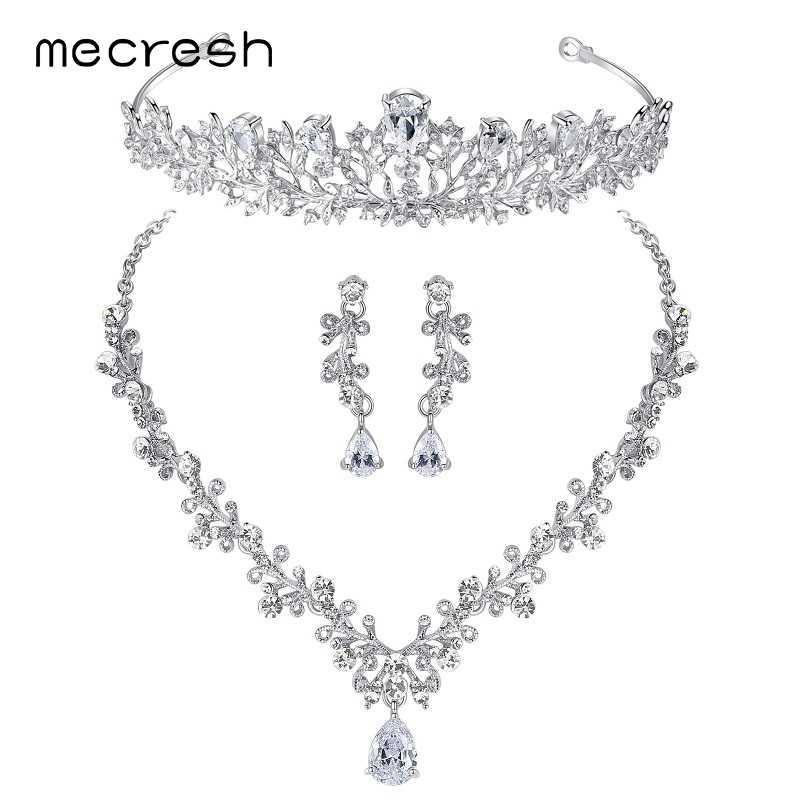 476ec715cb0e Mecresh Роскошные кубические циркония ювелирные наборы в форме листа  кристалл свадебные цепочки и ожерелья Серьги Тиара