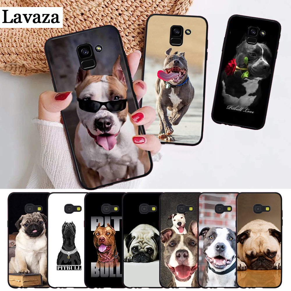 Lavaza Pit Bull Lovely Pet Dog Pitbull Silicone Case for Samsung A3 A5 A6 Plus A7 A8 A9 A10 A30 A40 A50 A70 J6 A10S A30S A50S in Half wrapped Cases from Cellphones Telecommunications